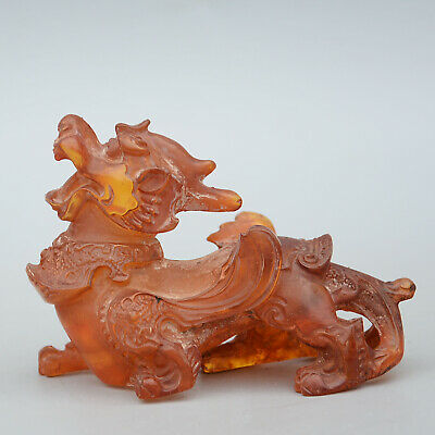 Collectable China Coloured Glaze Handwork Carve Lovely Kirin Noble Unique Statue