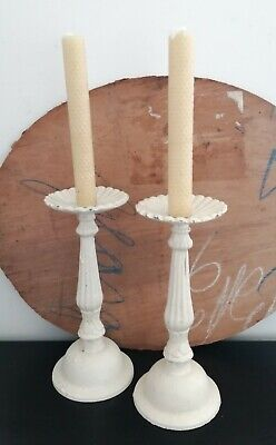Pair Of Antique Solid Cast Iron Metal Candlestick Holders Shabby Chic