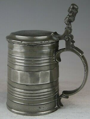 FINE UNUSUAL GEORGIAN GERMAN ANTIQUE PEWTER TANKARD STEIN MUG c1800