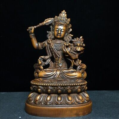Collectable Chinese Old Boxwood Hand-Carved Lotus Kwan-Yin Buddhism Noble Statue