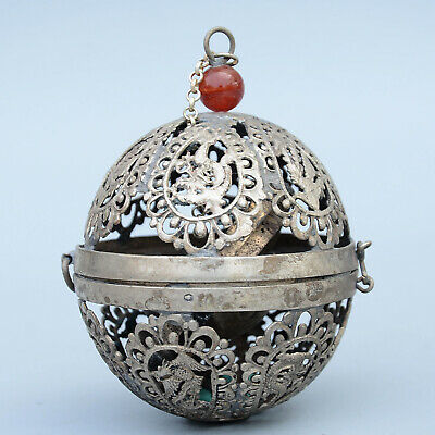 Collect China Old Miao Silver Hand-Carved Hollow Out Phoenix Noble Snuff Bottles