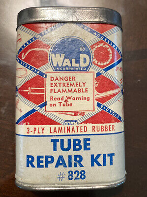 Vintage ADVERTISING ~ WALD MFG. TUBE REPAIR KIT WITH CONTENTS MAYSVILLE KY -NICE