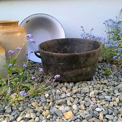 """Cast Iron Planter Dale & Co Two Handled Pot Rustic Country Garden 12½"""" Dia 6"""" T"""