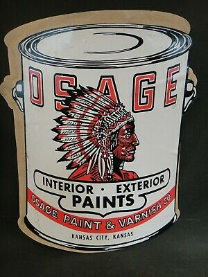 "12"" Tall Vintage Advertising Sticker - Antique Osage Paint & Varnish Co Chief"