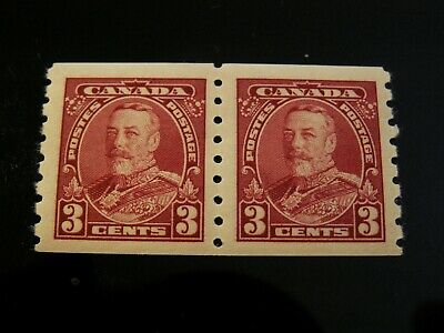 Canada - #230  3 Cent Kgv Coil Pair  Mint Never Hinged Very Fine $60.00 Cv, Nice