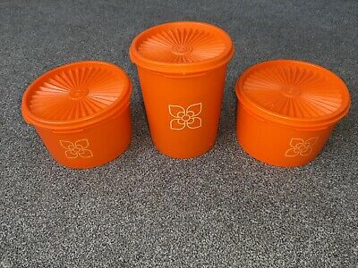 3 X Tupperware Lidded bowls Containers Orange Used Great condition