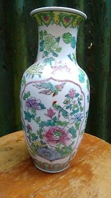 Antique Hand Painted Oriental Chinese Porcelain Famille Rose Vase c1900