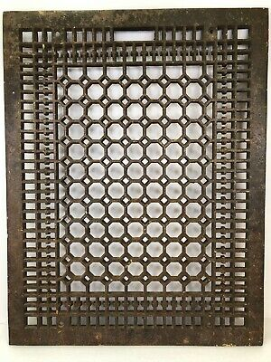 Antique Cast Iron Grate 26 x 20 Cold Air Return Geometric Floor Register Vent