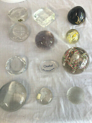 Lot Of 12 Vintage Glass Paperweights