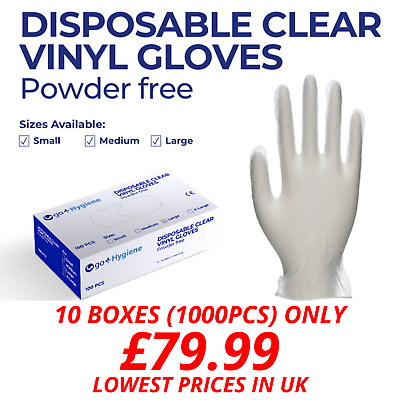 1000pcs (10 Boxes) Vinyl Disposable Gloves Powder Free Food Safe Clear