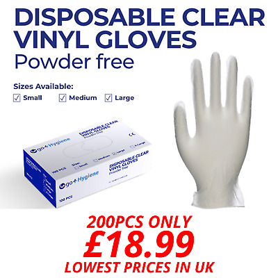 200PCS (2 Boxes) Vinyl Disposable Gloves Powder Free Food Safe Latex