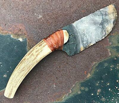 Agate Elk Antler Handle Stone Flint Knapped Knife Knapping Sharp Whole Sale