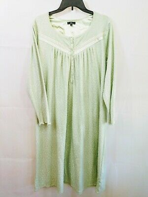 Aria Collection Womens Long Sleeve Light Green Full Length Nightgown Size Large