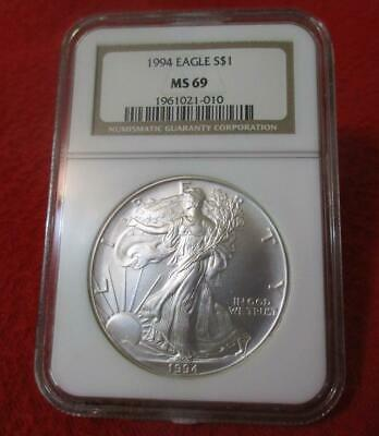 1994 NGC MS 69 Uncirculated American Silver Eagle Dollar  ASE          #MF-T2032