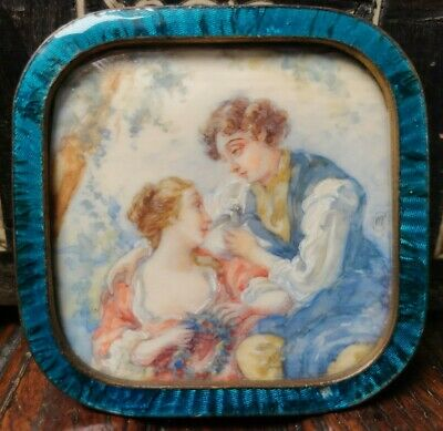 Antique French Guilloche Enamel Miniature Painting Courting Man Woman 19th c