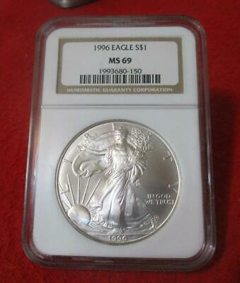 1996 NGC MS 69 Uncirculated American Silver Eagle Dollar  ASE          #MF-T2036