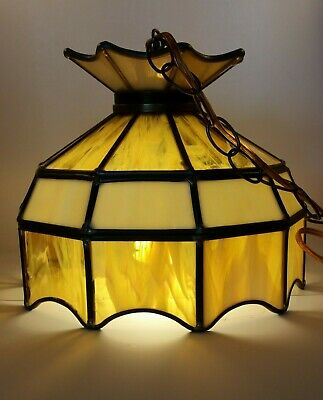Vtg Leaded Stained Slag Glass Amber Cream Hanging Light Fixture Works MCM VG!