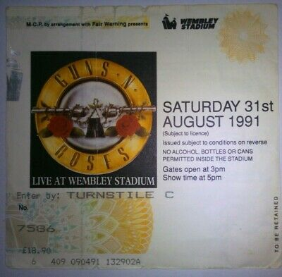 GUNS N ROSES Concert Ticket/Biglietto Concerto Wembley St. LONDON 1991