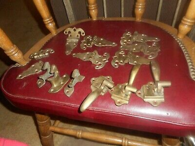 Vintage 14 Pieces Antique Ice Box Hardware Hinges Door Latches For Repair Projec