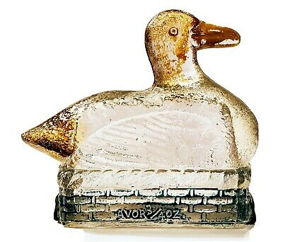 Antique 1920s Avor Glass Duck On Backet Candy Container Jeannette, PA Tin Bottom