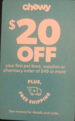 Chewy.com Coupon for $20 Off First Order of $49 Or More Expires 08/31/20