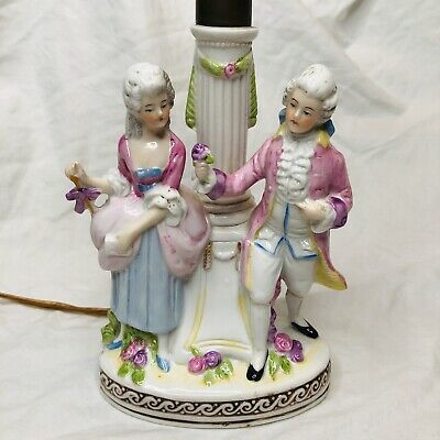 Antique German Porcelain Lamp Courting Couple With Flowers