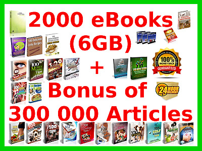 2000 ebooks with resell rights plus bonus of 300 000 articles