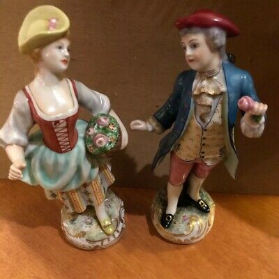 Antique Cadpodimente 2 Figurines Italy Pastoral Couple 19th Century Dress Marked