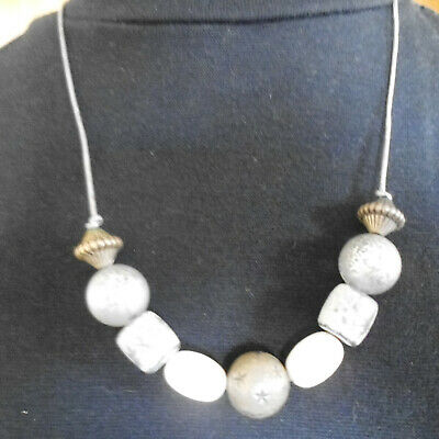 Grey Cord Necklace With Large Grey, Silver, Gold & White Beads.