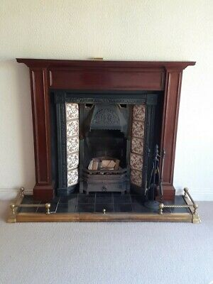 Victorian Style Cast Iron Tiled Insert Fireplace With Mahogany Surround