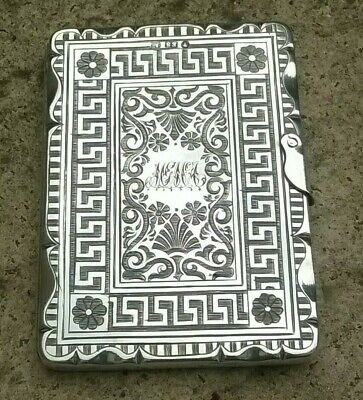 Antique Solid Silver Victorian Card Case  Edward Smith  1860 Stunning