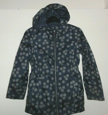 Girls Age 8-9 Years Hooded Rain Coat Lightweight Kagoule Fully Lined Navy Print