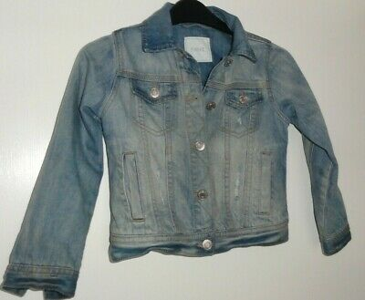 Girls Age 6 Years Denim Jacket By Next Distressed Stonewash Denim