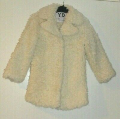 Girls Age 7-8 Years Cream Furry Teddy Bear Coat Fully Lined With Pockets Primark