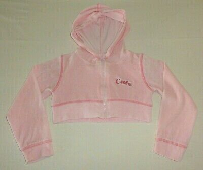 Girls Age 4-5 Years Pink Velour Crop Hoody Cute By Chilled Chick Long Sleeves