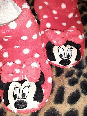 Girls Soft Bootie Red/White Minnie Mouse Slippers Size 11 To 12