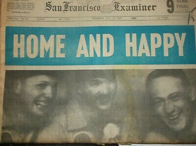 Vintage Newspaper SANFRANCISCO July24,1969 HOME AND HAPPY-APOLLO 11/ClayConvictn