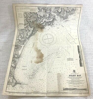 1945 Vintage Map of Start Bay Dartmouth Devonshire Navigation Sailing Devon