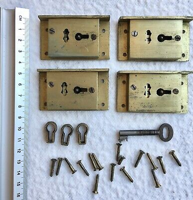 4x Antique Brass 4 Lever Drawer/Furniture Locks WITH Key, Escutcheons & Screws.