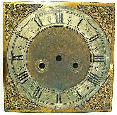 A Good  Early 18th Century Brass Longcase Dial