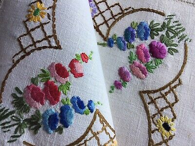 Pretty Vintage Linen Hand Embroidered Tray Cloth~ Lovely Florals