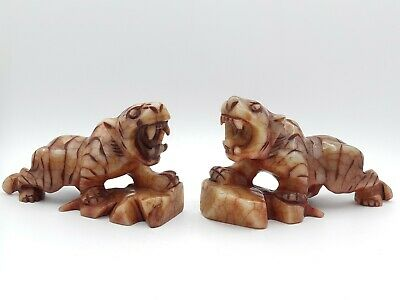 Vintage Pair Chinese Carved Jade Stone Red Jasper Tiger Pi Yao Ornament Statue