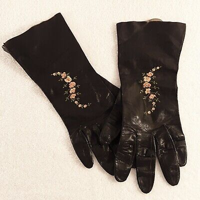 Vintage Womens DRIVING GLOVES Small Soft Kidskin Leather Black Embroidered
