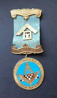 Large Vintage SILVER Past Masters Jewel 1985  LODGE  MODERATION  No.720