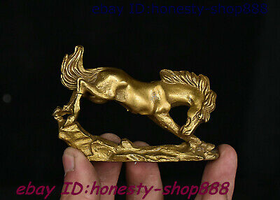 Collect Folk Chinese Copper Bronze Feng shui 12 Zodiac Year Animal Horse Statue