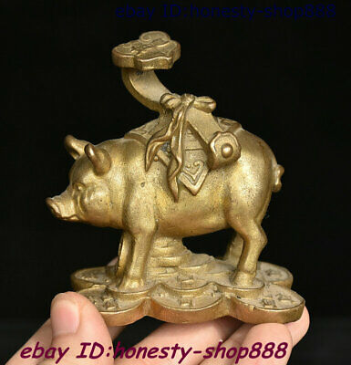 Collect China Copper Bronze Feng shui 12 Zodiac Year Animal Pig Ruyi Coin Statue