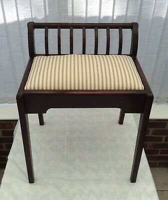Vintage Mahogany Stool With Slatted Back and Newly Upholstered