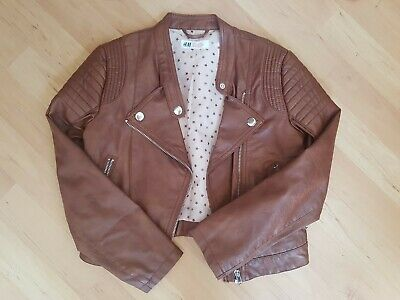 **IMMACULATE** Girls Brown H&M Faux Leather Biker Jacket Age 8-9 Years Kids