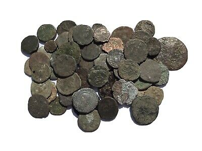60 Roman Bronze coins, 1st - 4th century AD, uncleaned