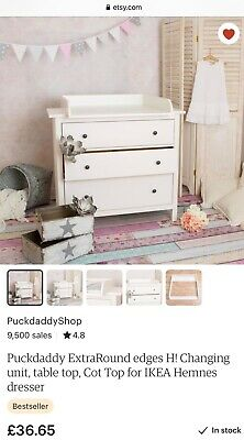 Puckdaddy baby changing wooden table top for Ikea Hemnes chest of drawers